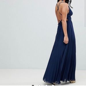 ASOS Petite Dresses - ASOS Navy pleated maxi dress with open back